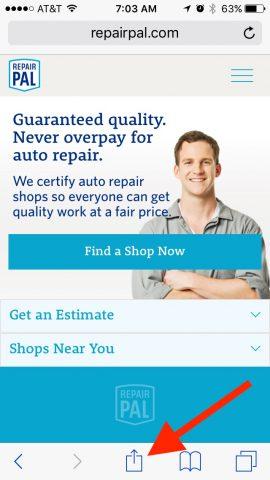 RepairPal mobile website