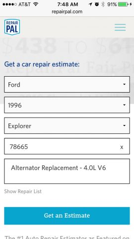Enter info about your car and the needed repair