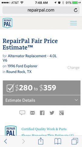 RepairPail Range of prices