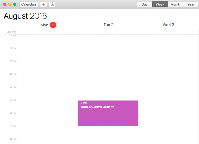 Calendar screenshot showing one appointment