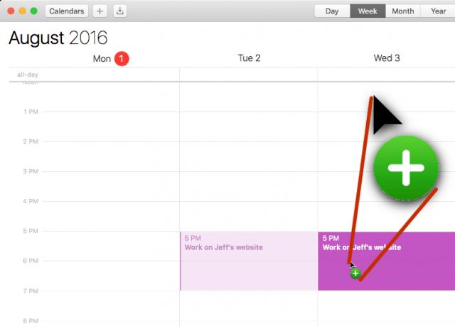 "Calendar showing ""duplicate"" cursor"