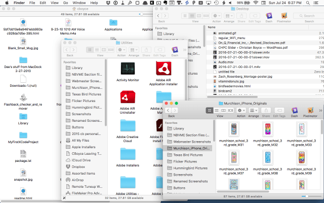 Screenshot of lots of open Finder windows