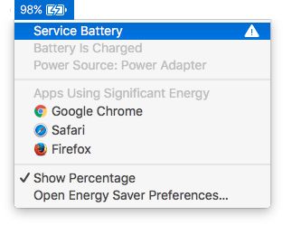 Battery Status menu on MacBook Pro showing battery needing service