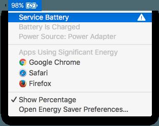Battery Status menu on MacBook Pro showing battery needing service