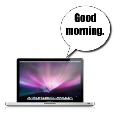 """MacBook Pro with """"Good Morning"""" speech bubble."""
