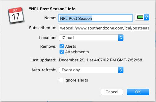 Adding the NFL Post Season calendar to a Mac's Calendar app