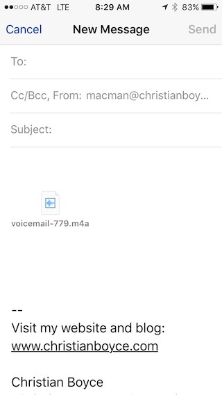 Forwarding an iPhone voicemail message via email