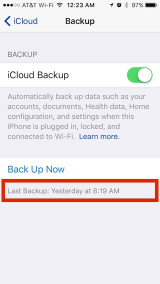 iCloud backup showing backed up yesterday