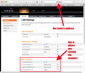 Arris router DNS settings
