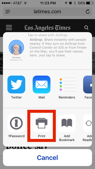 Print from an iPhone: Printer button in sharing panel