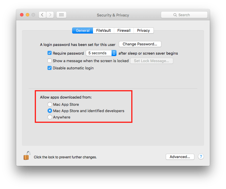 Security & Privacy settings in System Preferences-- this is how it should look!