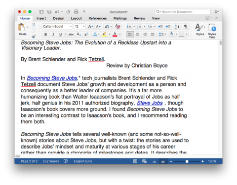 Microsoft Word 2016, Invisibles Hidden