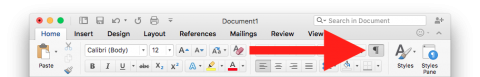 Microsoft Word 2016 toolbar showing Toggle Invisibles button