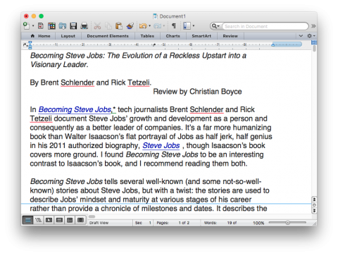 Microsoft Word document with Invisible Characters hidden