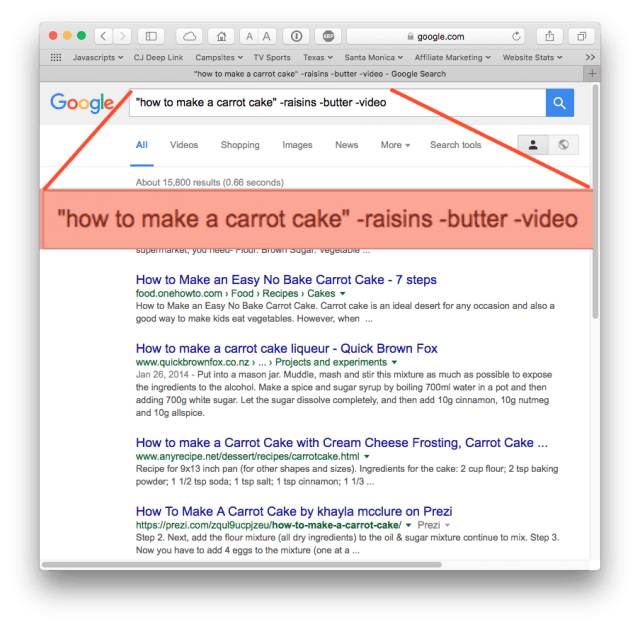 Google search results: no raisins, no butter, no video.