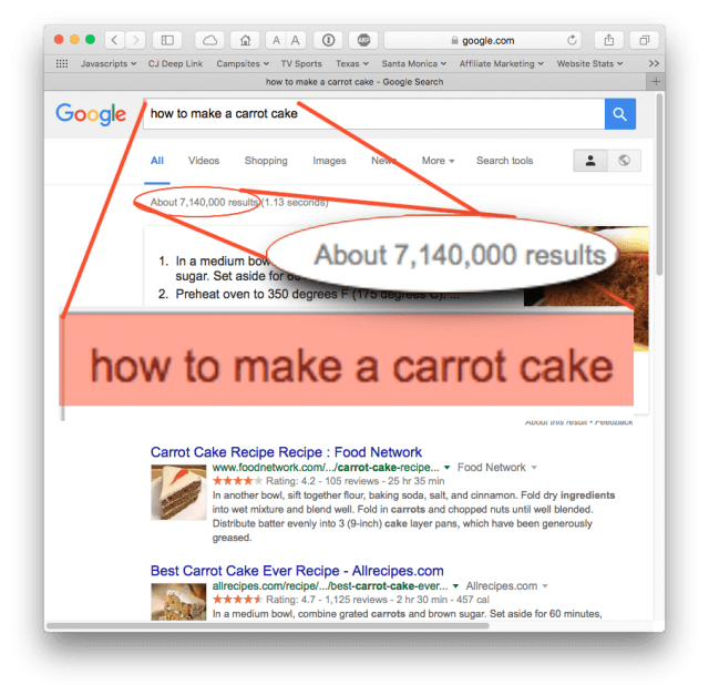 Searching Google for how to make a carrot cake: 7 million results!