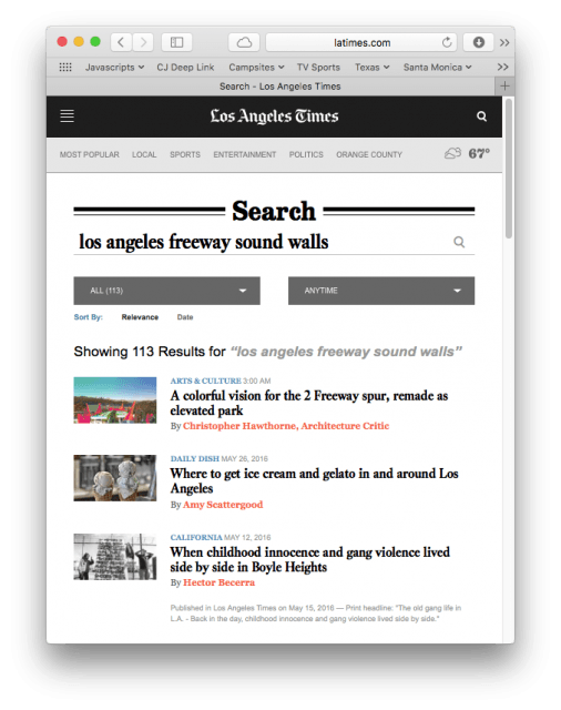 """Screenshot showing search results for """"los angeles freeway sound walls"""""""