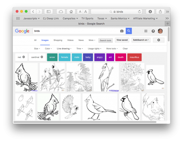 Google image search for pictures of birds, that are red, and are line drawings.