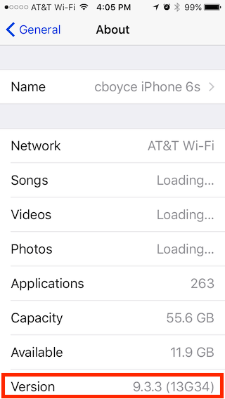Screenshot of iPhone iOS version, in Settings/General/About