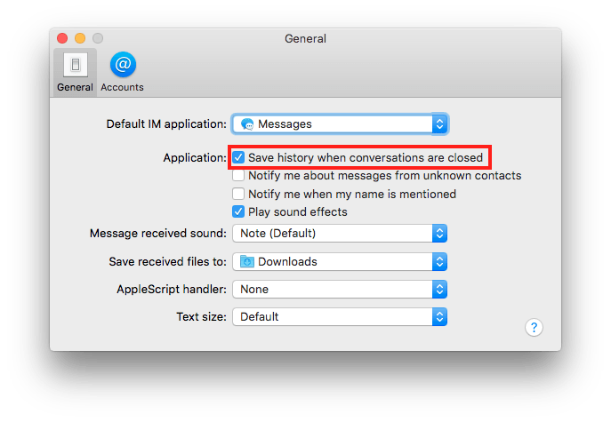 Messages preferences with Save Conversation