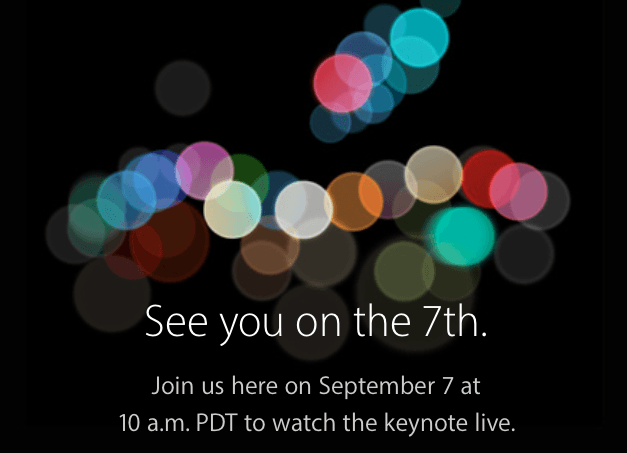 Apple's September 7th, 2016 Invitation