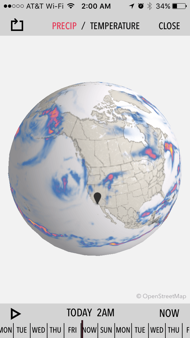 Dark Sky Weather globe, showing rain off the California coast