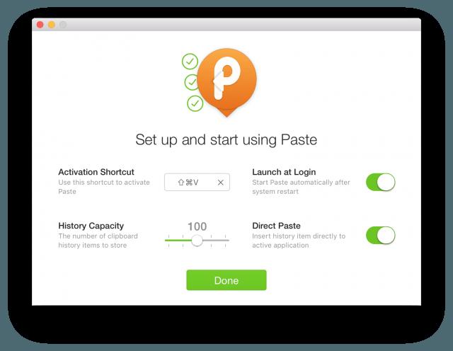 Paste's initial setup screen