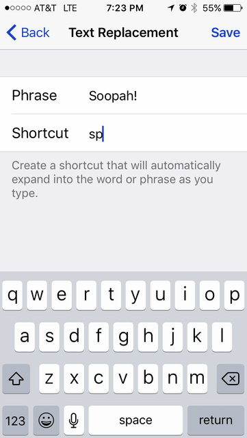 Creating a Text Replacement on the iPhone