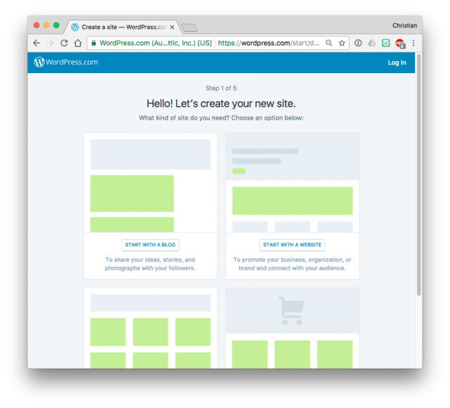 Choosing a WordPress.com site type