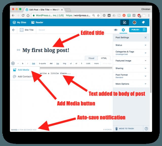 WordPress blog post add media