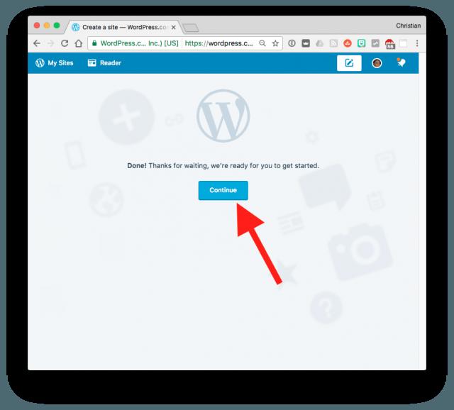 WordPress.com final step