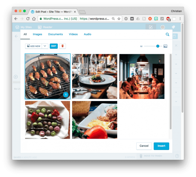 WordPress Media Library with large thumbnails