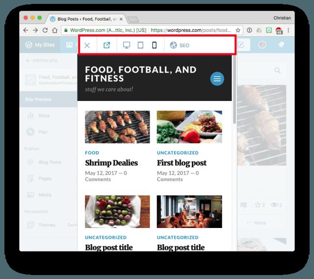 WordPress.com Site Preview (iPhone)