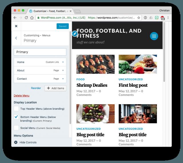 WordPress.com menu options