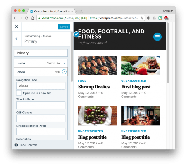 WordPress.com changing a menu item