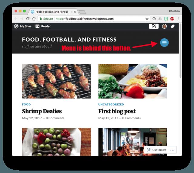WordPress.com Theme menu
