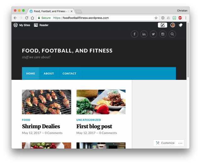 WordPress.com theme menu wider