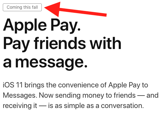 "Person to Person Apple Pay: ""coming this fall."""