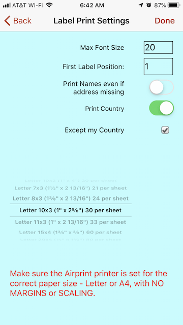 How to print address labels directly from iPhone or iPad