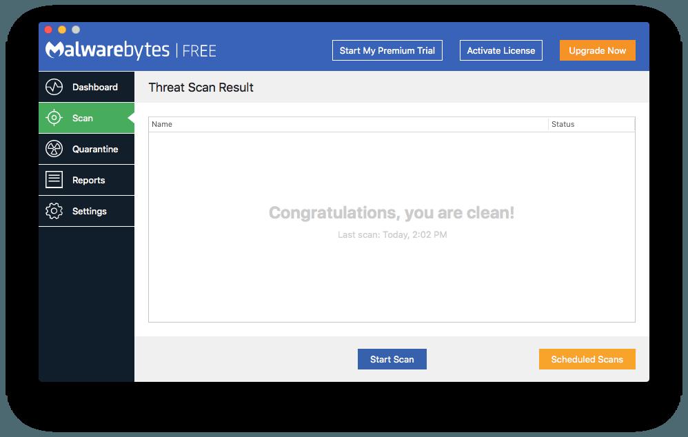 Malwarebytes for Mac: this Mac is clean!