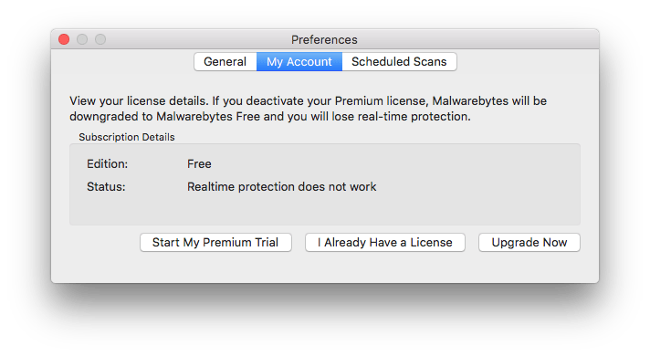 Malwarebytes: free version