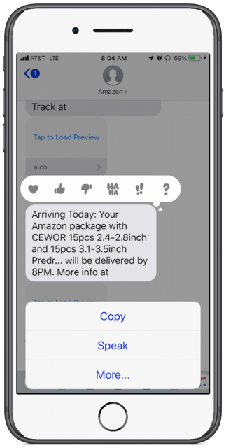 Text message showing special menu