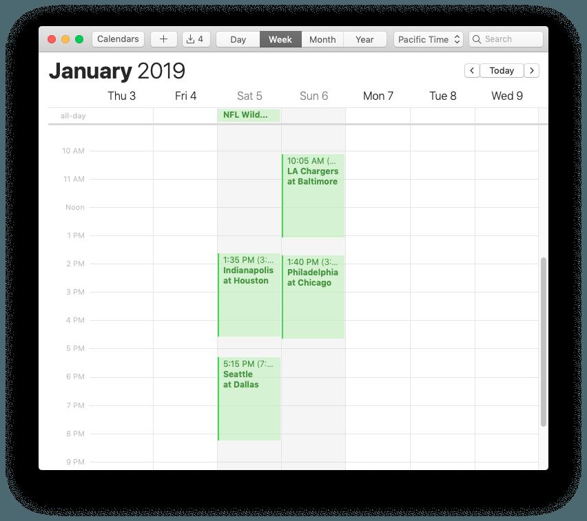 NFL Playoff Schedule in Mac Calendar app