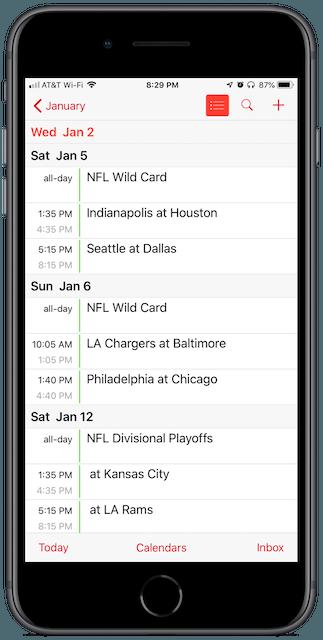 NFL Playoff Schedule in iPhone Calendar app