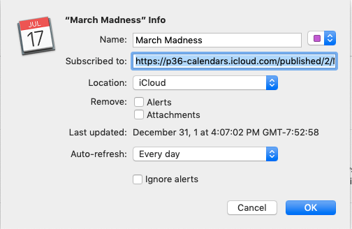 Adding the March Madness calendar to your Mac.