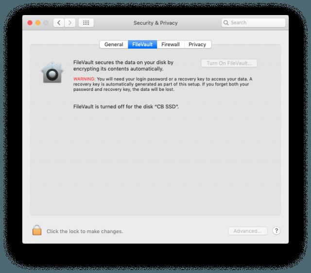 FileVault, turned off.