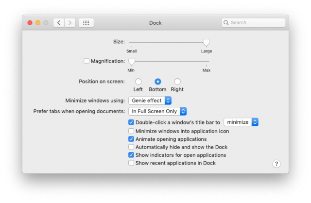 Dock settings for a desktop Mac