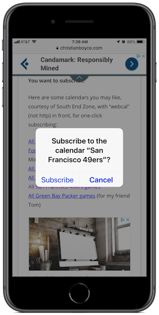 Add calendar to iPhone dialog box.