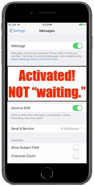 "iMessage activated! Not ""Waiting."""