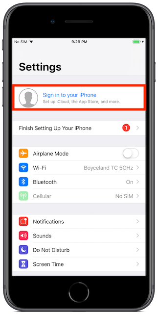 After turning on iMessage, sign in to your iPhone.